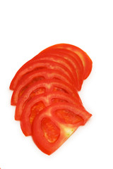 Slices of tomato isolated on the white