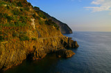 Cliffside on the mediterranean in cinque terra Italy poster