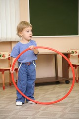 little girl with hoop
