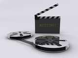 Strip film and clapperboard poster