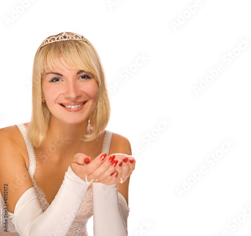 Beautiful Christmas princess isolated on white background