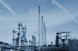 oil and gas refinery in blue poster