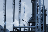 refinery pipelines and towers poster