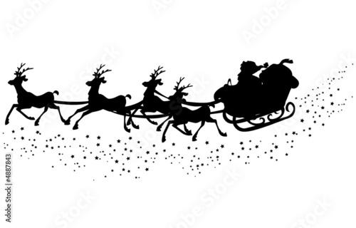 Santas Schlittten Silhouette