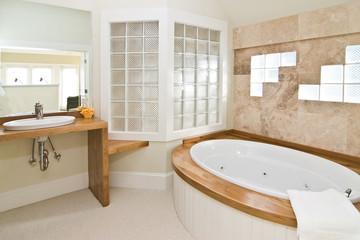white bathroom with whirlpool tub