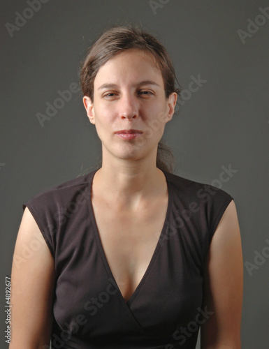 young woman looking skeptical