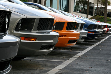 row of american muscle cars