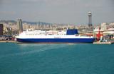 Passenger ferry and Barcelona skyline poster