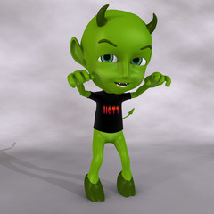 cute little green devil. With Clipping Path / Cutting Path