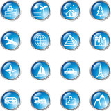 Fototapety blue drop travel icons