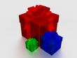 Three multi-coloured gift boxes. 3D image.