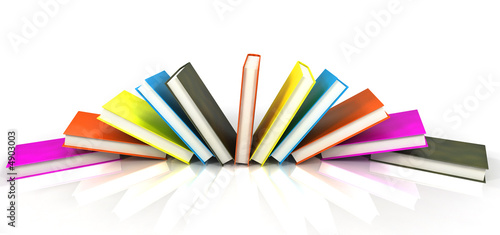 canvas print picture colored books isolated on glossy white #5