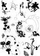 floral silhouette elements