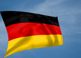 Rippled silk effect German flag with sky background poster