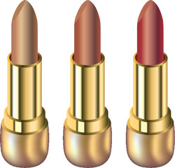 Three lipsticks isolated on white background