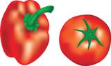 Illustration of GMO pepper and tomato poster