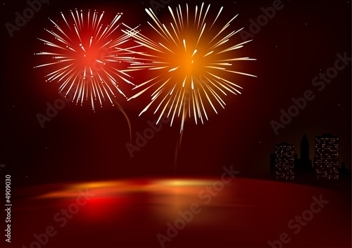 Red Fireworks - illustration with special lightning effects