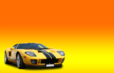 Yellow super car on a bright orange gradient background