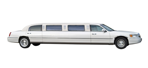 White stretched limousine for celebrities and special events