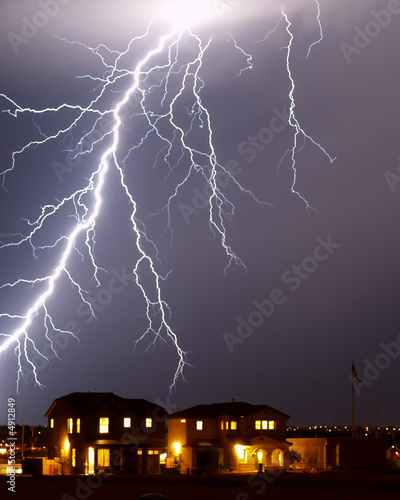 Lightning over a home - Tucson, AZ