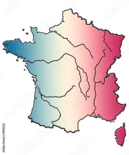 carte de France, Corse, fleuves, bleu blanc rouge