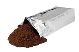 Open new coffee vacuum foil bag on white poster