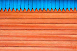Composition with blue and red structure wooden planks poster
