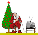 Santa Claus caught playing a video game poster