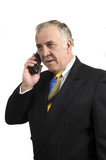older businessman on phone poster