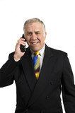 older businessman on phone in anguish poster