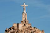Monteagudo statue and castle in Murcia, Spain. poster