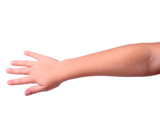 childs hand and lower arm