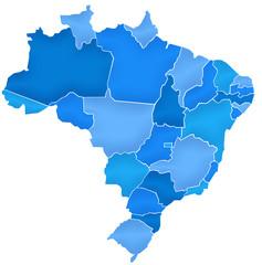 Carte Brésil Camaieu Bleu  - Brasil Map
