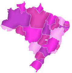 Carte Brésil Camaieu Rose - Brasil Map