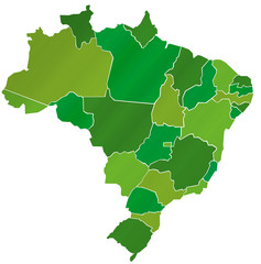 Carte Brésil Camaieu Vert  - Brasil Map