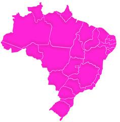 Carte Brésil Fuchsia Satin  - Brasil Map