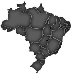 Carte Brésil Noir - Brasil Map