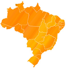 Carte Brésil Orange  - Brasil Map