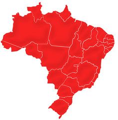 Carte Brésil Rouge Satin  - Brasil Map
