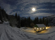 The shelter in the night. .It is the panoramic photo.