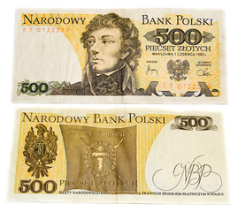 Polish old banknote. 500 zlotych