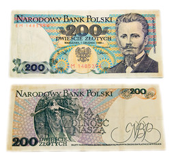 Polish old banknote. 200 zlotych