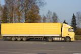 blank yellow  trailer truck of