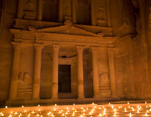 The Treasury lit at night Petra Jordan