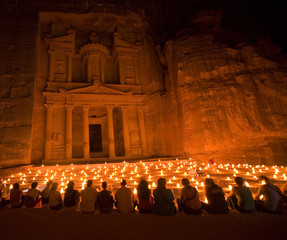 Treasury during night walk Petra Jordan