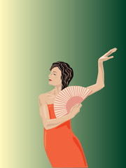 Vector illustration of fan dancer's performance