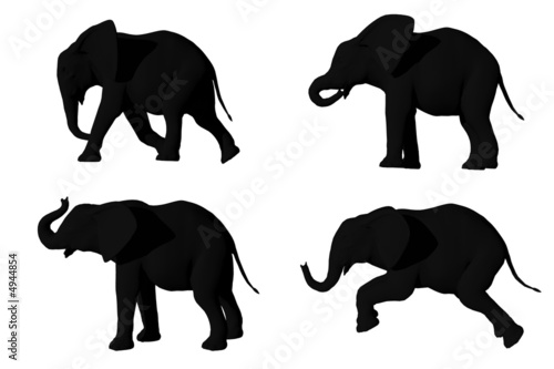 3D render of elephants
