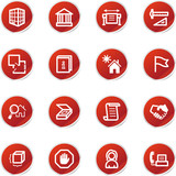 red sticker building icons poster