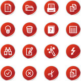 red sticker document icons poster