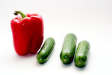 Combination of sweet pepper and fresh cucumbers poster